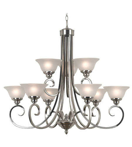 Kenroy Lighting Welles 9 Light Chandelier in Brushed Steel   80479BS photo