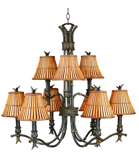 Kenroy Lighting Kwai 9 Light Chandelier in Bronze Heritage 90459BH photo