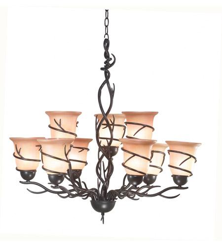 kenroy lighting twigs 9 light chandelier in bronze 90909brz