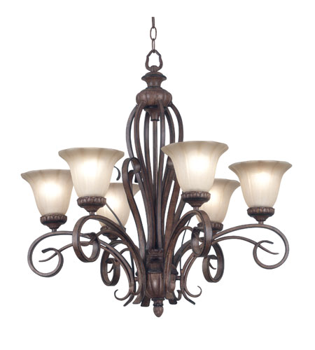 Kenroy Lighting Rochester 6 Light Chandelier in Aruba Teak   91036AT photo