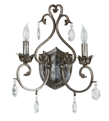 Kenroy Lighting Antoinette 2 Light Sconce in Weathered Silver   91342WS photo