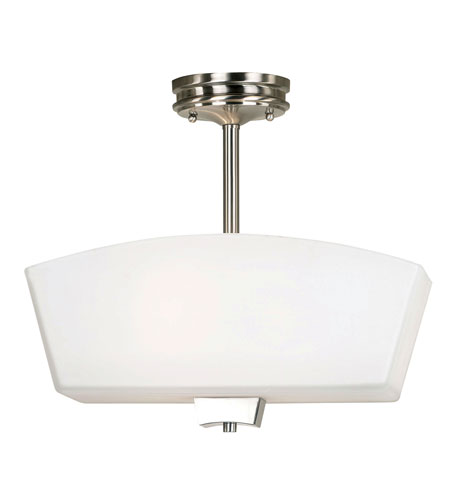Kenroy Lighting Oslo Brushed Nickel with Dark Maple Finish Semi-Flush Mount Lighting 91417BNDM photo