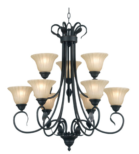 Kenroy Lighting Countryside 9 Light Chandelier in Royal Bronze   91569RBRZ photo