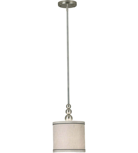 Kenroy Lighting 91641BS Margot 1 Light 8 inch Brushed Steel Mini Pendant Ceiling Light in Silver Metallic Fabric photo
