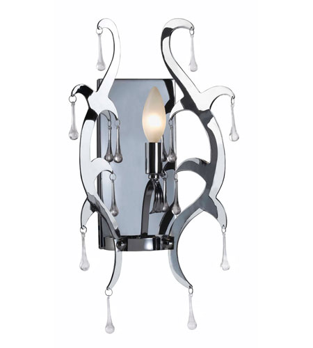 Kenroy Lighting Winter 1 Light Sconce in Chrome  with Glass Drops  91825CH photo