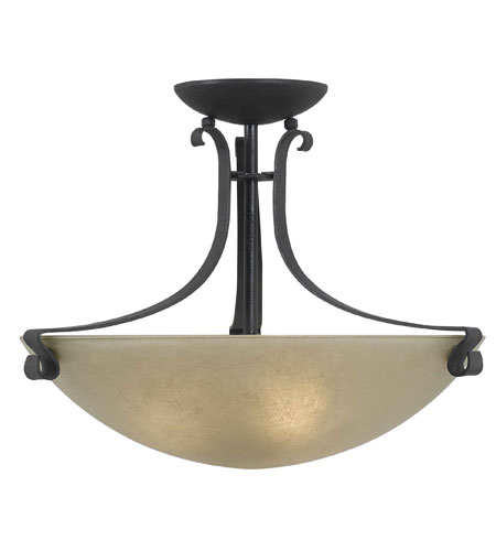 Kenroy Lighting Willoughby 3 Light Semi-Flush in Forged Graphite   91910FGRPH photo