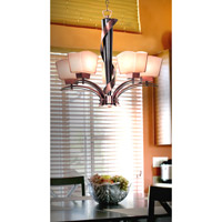 Kenroy Lighting Oslo 5 Light Chandelier in Burnished Copper with Black Cherry Wood   02736