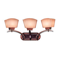 Oslo 3 Light 29 inch Burnished Copper and Black Cherry Finish Vanity Wall Light