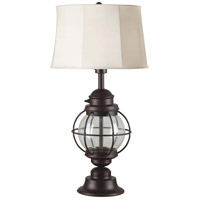 Kenroy Lighting Hatteras 1 Light Table Lamp in Gilded Copper with Seeded Glass   03070