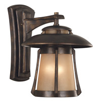 Laguna 3 Light 19 inch Golden Bronze Outdoor Wall Lantern in 8in. dia. Frosted Amber Seeded Glass Shade