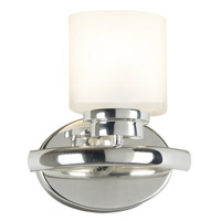 Bow 1 Light 8 inch Polished Nickel Sconce Wall Light in 5in. dia. Frosted White Glass Shade