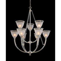 Cristallo 9 Light Polished Nickel Finish Chandelier Ceiling Light