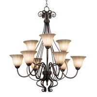 Kenroy Lighting Wallis 9 Light Chandelier in Burnished Bronze   10549BB