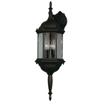 Custom Fit 3 Light 8 inch Black Wall Lantern Wall Light