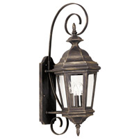 Estate 3 Light 9 inch Antique Patina Wall Lantern Wall Light