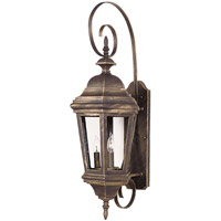 Estate 3 Light 11 inch Antique Patina Wall Lantern Wall Light
