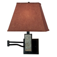 Dakota 23 inch 150 watt Oil Rubbed Bronze/Natural Slate Wall Swing Arm Lamp Wall Light