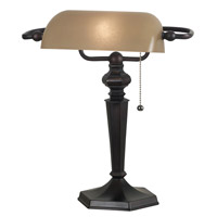 Kenroy Lighting 20610ORB Chesapeake 15 inch 60 watt Oil Rubbed Bronze Banker Lamp Portable Light