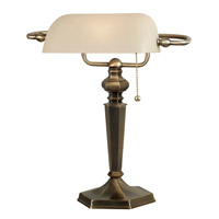 Kenroy Lighting 20615GBRZ Mackinley 15 inch 60 watt Golden Bronze Banker Lamp Portable Light