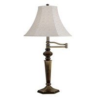 Mackinley 32 inch 150 watt Golden Bronze Swing Arm Table Lamp Portable Light