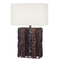 Kenroy Lighting Whistler 1 Light Table Lamp in Dark Wicker   20976DW