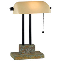 Kenroy Lighting Greenville Banker Lamp 1 Light Banker Lamp in Natural Slate with Oil Rubbed Bronze Accents  21041SL
