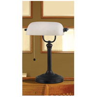 Kenroy Lighting 21394ORB Amherst 15 inch 60 watt Oil Rubbed Bronze Banker Lamp Portable Light alternative photo thumbnail