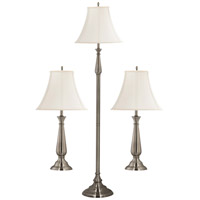 Kenroy Lighting Banister 1 Light 3 Pack - 2 Table/1 Floor Lamps in Brushed Steel   29020BS