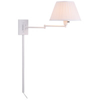 Kenroy Lighting 30110WHWH-1 Simplicity 26 inch 150 watt White Wall Swing Arm Lamp Wall Light