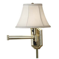 Traditional 150 watt Polished Brass Swing Arm Sconce Wall Light in White Shade