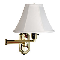 Kenroy Lighting Nathaniel 1 Light Swing Arm Wall Lamp in Polished Brass   30130PB
