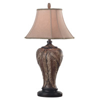 Bermuda 35 inch 150 watt Leafed Bronze Table Lamp Portable Light