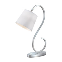 Wilson 21 inch 60 watt Brushed Steel Desk Lamp Portable Light in White