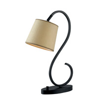 Wilson 21 inch 60 watt Oil Rubbed Bronze Desk Lamp Portable Light in Tan Tweed