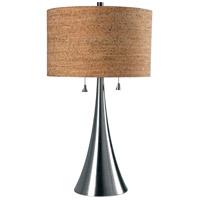 Kenroy Lighting 32092BS Bulletin 21 inch 75 watt Brushed Steel Table Lamp Portable Light