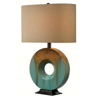 Sesame 25 inch 150 watt Teal Ceramic Glaze Table Lamp Portable Light