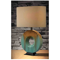 Kenroy Lighting 32184CG Sesame 23 inch 150 watt Teal Ceramic Glaze Table Lamp Portable Light alternative photo thumbnail