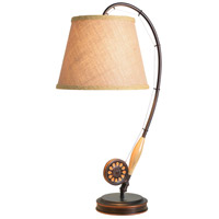 Kenroy Lighting 32193ORB Fly Rod 11 inch 100 watt Oil Rubbed Bronze/Wood Table Lamp Portable Light