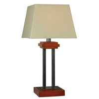 Kenroy Lighting Hadley 1 Light Outdoor Table Lamp in Cherry with Grey Accents 32195CYGY
