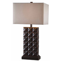Kenroy Lighting Cross Hatch 1 Light Table Lamp in Bronze with Copper Highlights 32211BZC