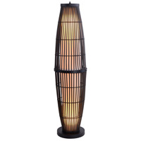Biscayne 51 inch 100 watt Rattan/Bronze Outdoor Floor Lamp