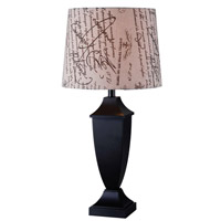 Kenroy Lighting Bauer 1 Light Table Lamp in Black 32253BL