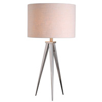 Foster 29 inch 150 watt Brushed Steel Table Lamp Portable Light in White