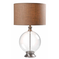 Kenroy Lighting Constellation 1 Light Table Lamp in Glass with Brushed Steel 32274GBS