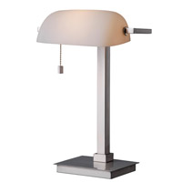 Wall Street 16 inch 60 watt Brushed Steel Desk Lamp Portable Light in White Glass