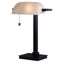 Wall Street 16 inch 60 watt Oil Rubbed Bronze Desk Lamp Portable Light in Amber Glass