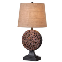 Kenroy Lighting Knot 1 Light Table Lamp in Golden Flecked Bronze with Wood Accents 32310GFBR