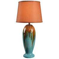Kenroy Lighting Tucson 1 Light Table Lamp in Teal Ceramic 32366TEAL