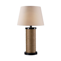 Kenroy Lighting Landfall 1 Light Outdoor Solar Table Lamp in Oil Rubbed Bronze with Rope Accents 32483ORB