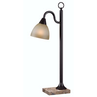 Lincoln 28 inch 60 watt Oil Rubbed Bronze Table Lamp Portable Light in Amber Scavo Glass